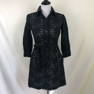 Milly black eyelet shirtdress size 2 with pockets